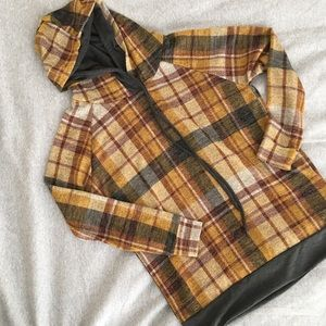 NEW Plaid Hoodie Mustard Yellow with Double Hood